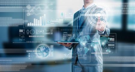 businessman working on 3D bar chart business strategy concept Standard-Bild