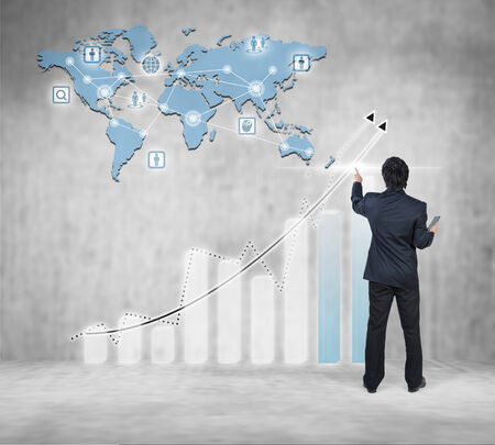 Businessman working on digital virtual screen, globalization marketing conceptual photo