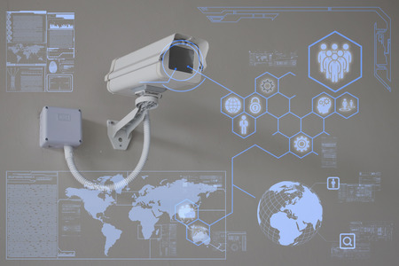 화면 표시에 CCTV 카메라 나 감시 기술 스톡 콘텐츠