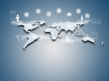 Internet technology concept of global business or social network connection photo