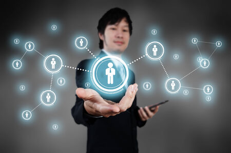 Businessman working with digital visual object, human resource concept photo