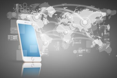 Globalizzazione o Social network concetto di fondo con la nuova generazione di telefonia mobile Archivio Fotografico