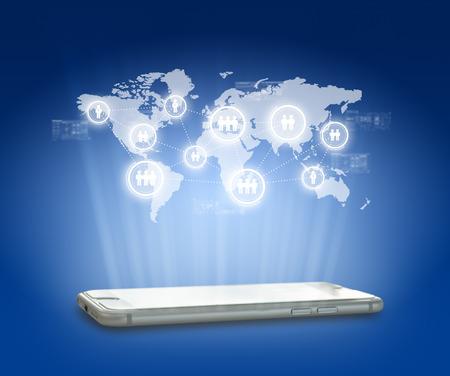 Globalizzazione o Social network concetto di fondo con nuova generazione di telefonia mobile Archivio Fotografico