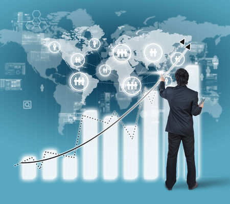 high performance: businessman working on bar chart business strategy concept