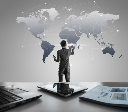Businessman pressing on digital virtual screen, globalization marketing conceptual photo