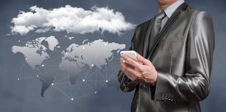 Businessman working on cloud computing business security concept photo