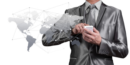 Businessman working with digital object, business globalization concept photo