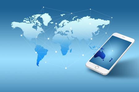 Globalisering of Sociaal netwerk concept achtergrond met nieuwe generatie mobiele telefoon Stockfoto