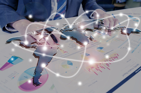 businessman working with performance report, business globalization concept Stock Photo