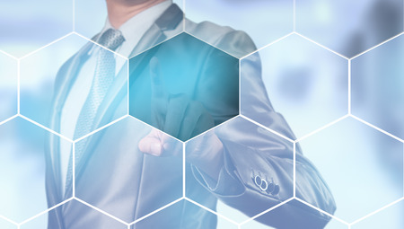 businessman pressing on digital screen, editable business content Stock Photo