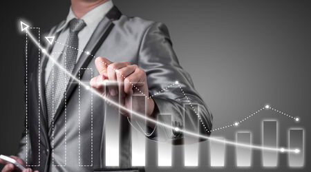 business improvement: businessman working with digital chart, business improvement concept Stock Photo