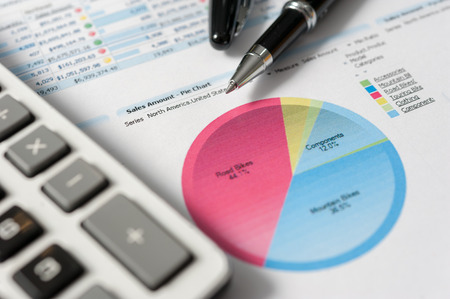pie chart: Pen and report paper, business conceptual