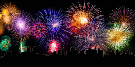 colorful fireworks with cityline photo