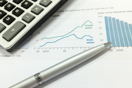 stock index: Pen and report paper, business conceptual