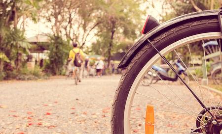 swallow depth of field bicycle wheel, vintage retro style photo