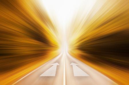 dual: Conceptual image of asphalt road and dual direction arrow