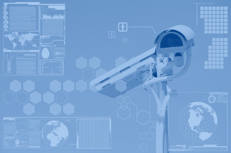 police equipment: CCTV or surveillance with technology screen layer