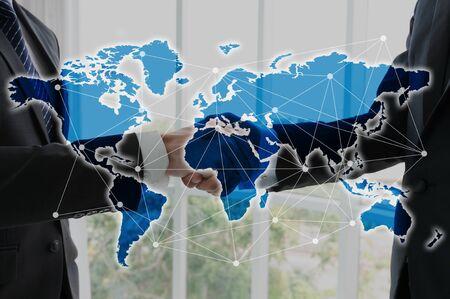 globalization: Hand shake of businessman, globalization concept