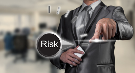 risks icon: businessman working on risk management, business concept Stock Photo