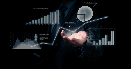 Businessman holding graph, business concept Imagens - 38365159