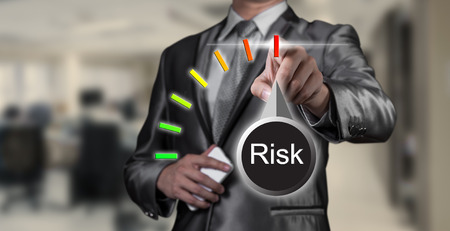 risk: businessman working on risk management, business concept Stock Photo