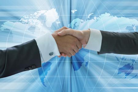 Business handshake, business globalization concept Stock Photo - 38365990