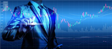 stock market chart: double exposure of businessman with stock market chart