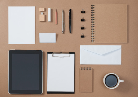 Mock up template of stationary and electronic tools in every day life Stock Photo