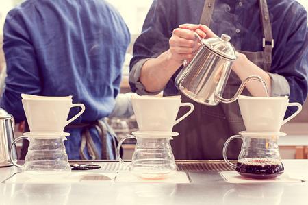barista driping coffee 写真素材