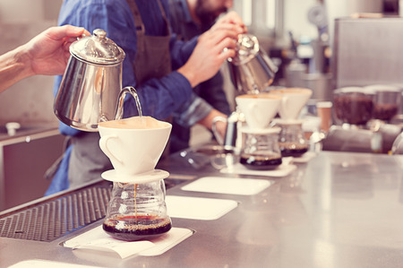 barista driping coffee Stock Photo
