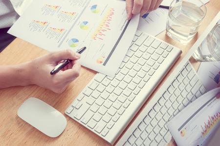 apple computers: Man using desktop pc computer, mobile office concept