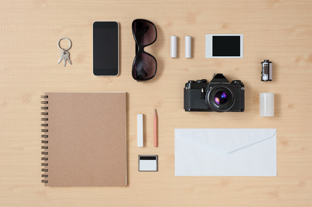 Mock up template of equipment for traveling Stock Photo