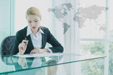 agents: businesswoman in suit working with report, business globalization concept