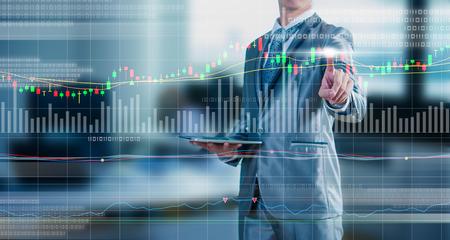 実業家図面グラフ、株価マーケティングの概念