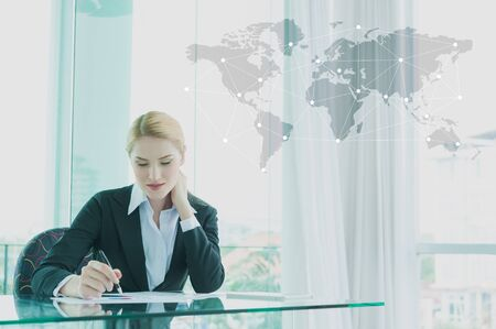 businesswoman suit: businesswoman in suit working with report, business globalization concept