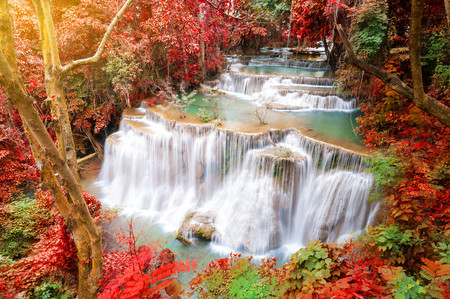 kamin: Deep forest waterfall in autumn scene at Huay Mae Kamin waterfall National Park Kanjanaburi Thailand Stock Photo