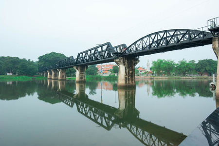 railway history: Kwai River Bridge, an old historical building during world war 2 Stock Photo