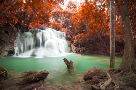 Deep forest waterfall in autumn scene at Huay Mae Kamin waterfall National Park Kanchanaburi Thailand