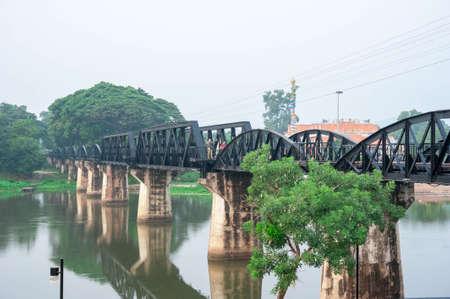 world war 2: Kwai River Bridge, an old historical building during world war 2 Stock Photo