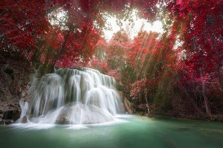 waterfall: Deep forest waterfall at Huay Mae Kamin waterfall National Park Kanchanaburi Thailand