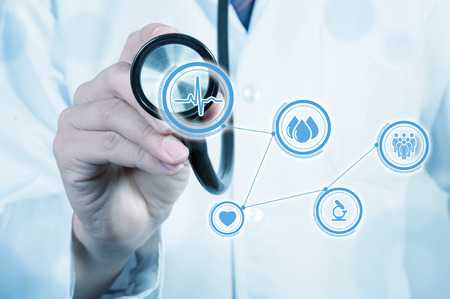 network diagram: Doctor use stethoscope, medical concept Stock Photo