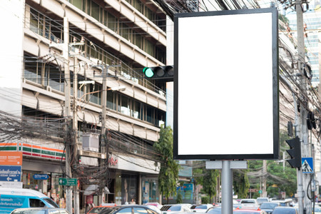 bill board: Blank bill board for advertising along the road Stock Photo