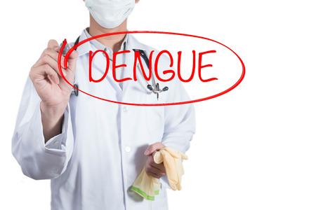 dengue: Doctor using red pen draw circle on dengue