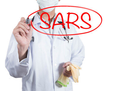 saar: Doctor using red pen draw circle on SARS, severe acute respiratory syndrome Stock Photo