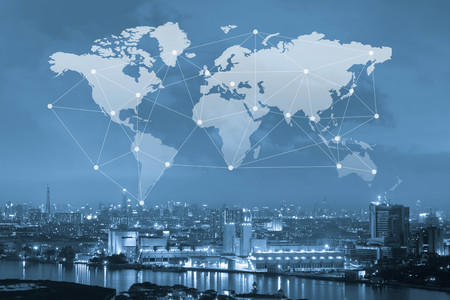 City with world map and conneting line, globalization conceptual, industrial network communication concept