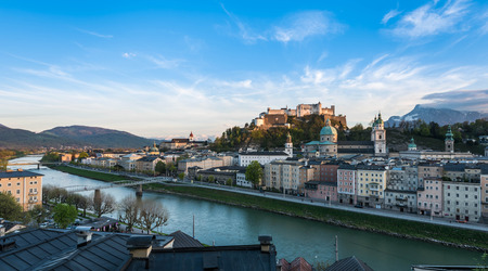 salzach: Landscape scene of Fortress Hohensalzburg of Salzburg with Salzach river line Editorial