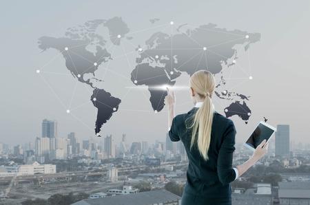 Businessman pressing on digital virtual screen, globalization marketing conceptual Imagens - 64325491