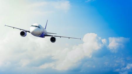 흐린 하늘, 개념적 탐험의 배경으로 비행기