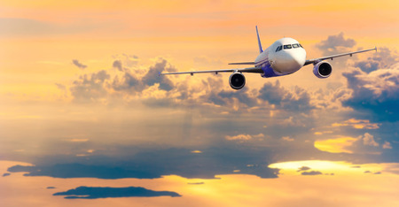 navigable: Airplane with background of cloudy sky, exploration conceptual Stock Photo