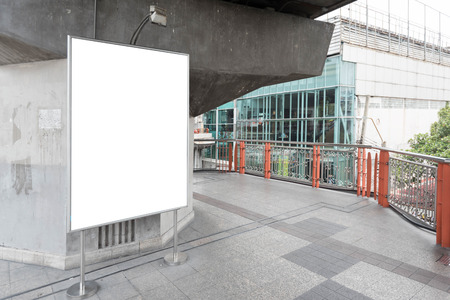 bill board: Blank bill board for advertising on walk way